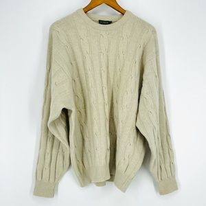 ✨ Vintage J. Crew Cream Oatmeal Cable Knit Jumper Sweater Large Luxe Blend
